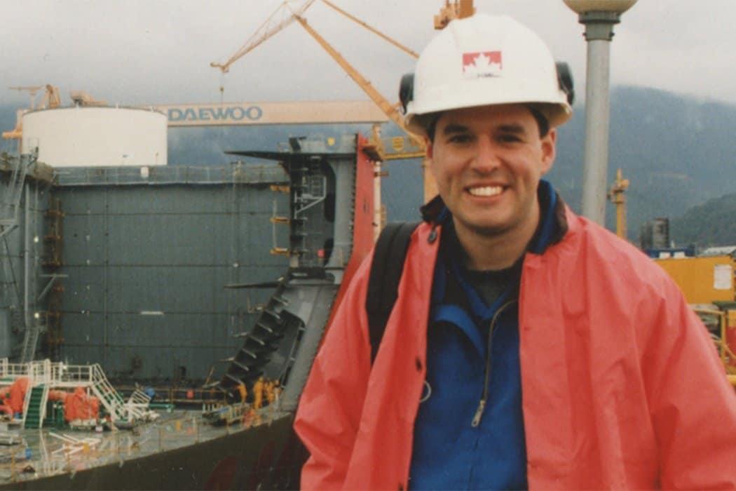 Tom at Daewoo shipyard in Korea